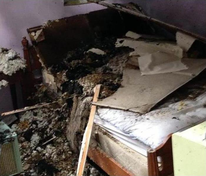 damaged room after a fire