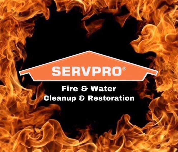 SERVPRO logo over fire